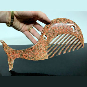 vintage large whale shape hair comb made in France